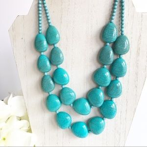 Vintage Turquoise Bead Double Strand Necklace 18""